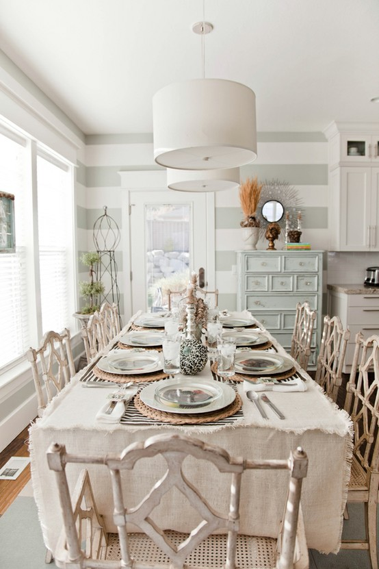 stripes dining room gray
