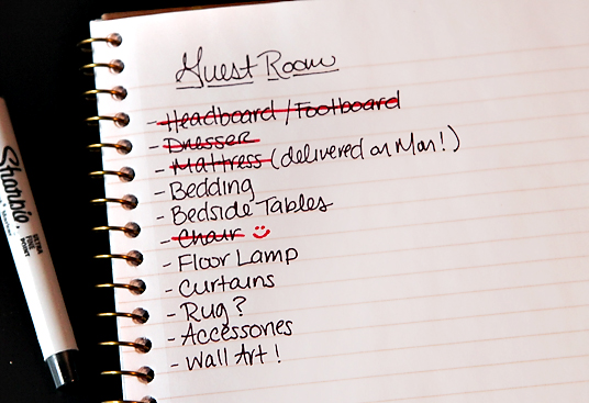shopping list GUEST ROOM UPDATE