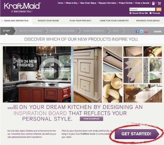 kraftmaid getstarted INSPIRATION BOARDS (KRAFT)MAID EASY