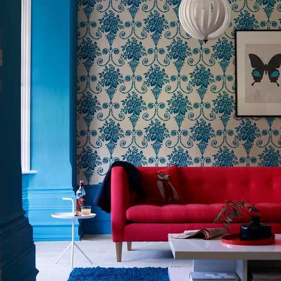 red white blue living room