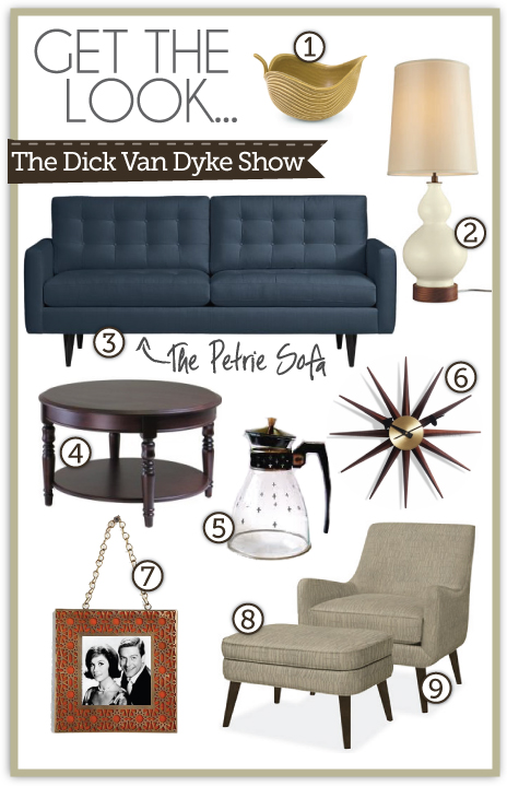 dick van dyke show style, set design, furniture, mid century modern