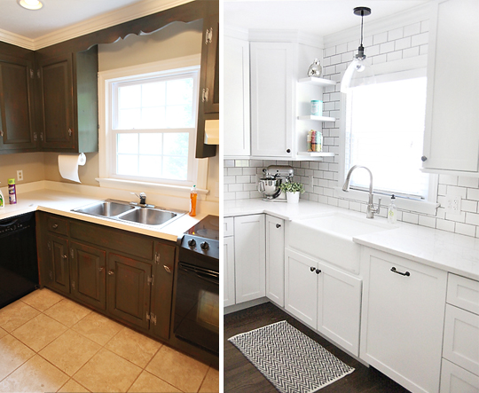 kitchen beforeafter sink SEMI DIY FLOATING SHELVES
