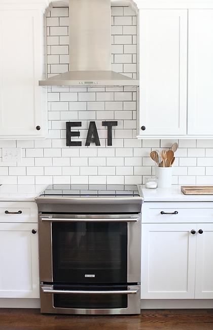 kitchen stove DIY WEATHERED METAL LETTERS