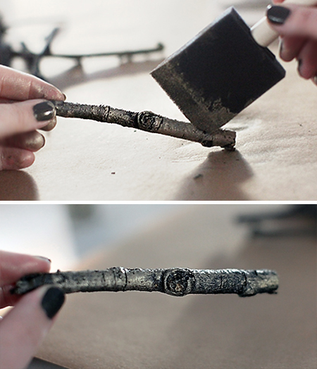 stickpainting DIY RUSTIC GLAM CANDLE HOLDER