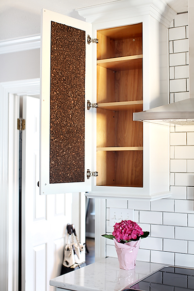 Cork-Lined Cabinet for Recipes / 7th House on the Left